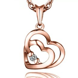 925 sterling silver items crystal jewelry double heart diamond pendant statement necklaces golden rose color charms