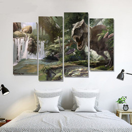 Wholesale 4pcs Europe style four panels of dinosaur painting HD wall pictures for home decoration or gift for children