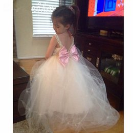 Gorgeous Girls Pageant Dresses Custom Size Backless Crystals Beaded Draped Spaghetti Flower Girls Dresses For Weddings Kids Formal Prom Gown