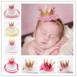 2017 bébé props accessoires pour la photographie Nouveau bébé princesse couronne bandeaux enfants élastique étincelle Bling coiffure nouveau-né bébé photographie accessoires dentelle cheveux accessoires épingle à cheveux KHA267 bébé props accessoires pour la photographie sur la vente