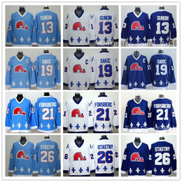 Quebec Nordiques Jerseys Ice Hockey 13 Mats Sundin 21 Peter Forsberg 26 Peter Stastny 19 Joe Sakic Team Color Navy Blue White