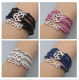 Wholesale pieces Infinity Love Paw Print Bracelet Dog Lover Cat Lover Wrap Bracelet great quality drop shipping Custom