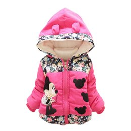 Wholesale Coat Warm Outwears Kids - 2016 Fashion Winter Jackets for Kids Cartoon Print Cute Outwear Casual Baby Girls Coats and Jackets Hooded with Ear Thick Warm Overcoat
