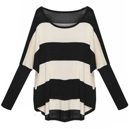 Spring Autumn Women Sweaters and Pullovers Batwing Sleeve Loose Sweater Oversized Striped Jumpers Pull Femme Knitted Sweaters