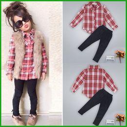 2016 new fashion high quality factory outlet girls autumn suits plaid long t-shirt black legging long pants 2pcs children clothing set