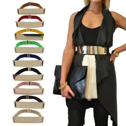 Elastic Mirror Golden Metal Waist Belt Metallic Bling Plate Wide Band For Women Ladies Accessories