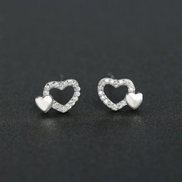 B140 fashionable cute 925 sterling silver clear cz diamond heart women stud earring low prices wholesale