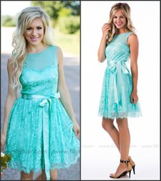 Wholesale Turquoise Short Bridesmaid Dresses Jewel Neck A Line Country Style Vintage Lace with Belt Maid of Honor Gowns Wedding Guest Dresses