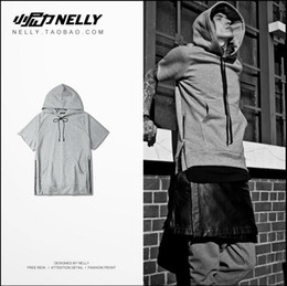 Wholesale New Kanye West Hooded Men s Clothing Short Sleeve T shirt Jumper Sweatshirts Short After Long Before Dark Tide Ik BBC T Shirt Big Talker