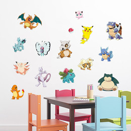 Hot New Poke Go Game Wall Stickers Kids for Rooms Home Decorations Pikachu Decal Cartoon Poster Wall Art Wallpaper