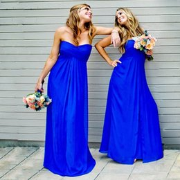 Royal Blue Pleated Chiffon Bridesmaid Dresses Sweetheart Custom Made Long Bridesmaid Gowns Pink Wedding Guest Dresses