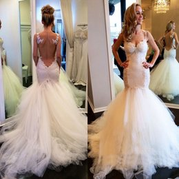 Wholesale China Black Trumpet - 2017 Wedding Dresses Gowns Illusion Backless Mermaid Bridal Gowns Tulle And Lace Sexy China Custom Made Dress For Brides Robe De Mariée