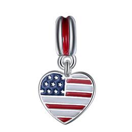 Wholesale Sterling Silver Enamel US Heart Flag European Charm Beads Fit Pandora Style Bracelet Necklace Pendant DIY Original Jewelry