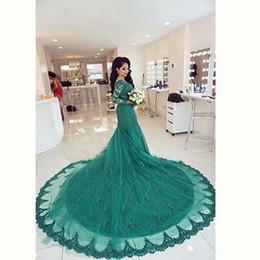 Green Trumpet wedding Dresses 2016 Mermaid Scoop Muslim Abayas Vintage Lace Arabic Long Sleeves Bridal Gowns Court Train