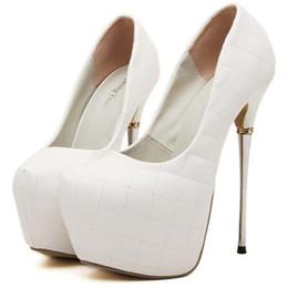 Boda de la sandalia del tacón alto cm en venta-las bombas de los zapatos atractivos de ultra alto talón de 16 cm zapatos de la boda vestido de fiesta blanco las mujeres del tamaño 2016 zapatos de 35 a 39