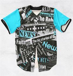 Wholesale 2 Colors Real USA size Custom made The Big Story Newspaper D Sublimaiton Print Baseball Shirt plus size