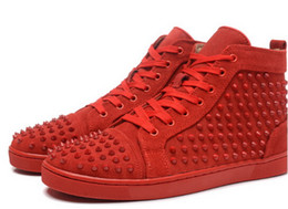 Wholesale 2016 red bottom sneakers new sole made in EU pink suede spikes fashion casual Men and womens shoes women leisure trainer footwear