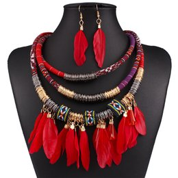 Wholesale N3578 Fashion Exaggerated Multilayer alloy feather Tassel Necklace Feather clavicle chain Earrings Set
