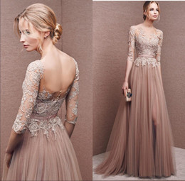 Wholesale Gentle women lace formal evening dress pure fantasy decals floor length sleeves chiffon evening dress PROM dress