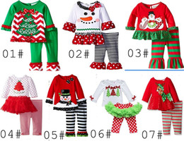 Wholesale 2016 baby xmas elk outfit girls deer christmas tree t shirt ruffle pants sets children polka dot tops kids spring fall wear outfit