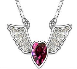 Acheter en ligne Anges ailes-L'ange plein de coeur de coeur de foret de perle de vente de l'Autriche chaud s'envole des modèles d'explosion de pandant de colliers Des bijoux de haute qualité du charme de charme de mode 4 couleurs