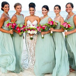 2016 Beach Bridesmaid Dresses V Neck One Shoulder Mint Green Chiffon Long Wedding Guest Wear Plus Size Maid of Honor Gowns Under 100