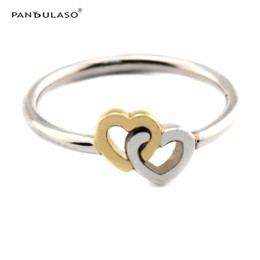 Entwined Hearts Ring With 14K Gold Sterling-Silver Newest Authentic Pure Sterling Wholesale Ring European Style Woman DIY Rings