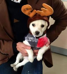 Головные уборы для собак Онлайн-мода рождества кота собаки любимчика оленей рога шлема продукты свободная перевозка груза собаки аксессуары кошки костюмы собаки одежды