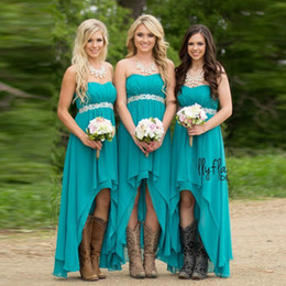 Wholesale New Arrival High Low Bridesmaid Dresses Cheap Teal Turquoise Chiffon Sweetheart Beaded Belt Party Dress Maid Honor Gowns