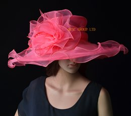 Watermelon pink Big Organza Hat for wedding and kentucky derby,Ascot Races,Melbourne Cup.