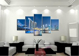 Unframed 5 pieces Free Shipping Canvas Prints modern city dolphin Pyramid church Brooklyn Bridge New York sea sunlight Building lighting