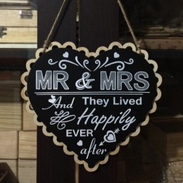 Wholesale Wedding Wooden Signs Heart Shape Blackboard Mr Mrs Wood Signs Chair Signs Wedding Party Decoration Photo Props