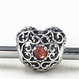 S925 Sterling Silver January Signature Heart Charm Bead with Garnet Fits European Pandora Jewelry Bracelets Necklaces & Pendant