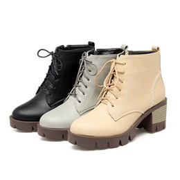 Autumn winter 2016 new brief waterproof rough academic trade size with short boots women's boots