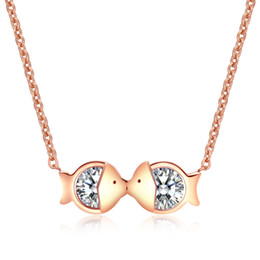 Wholesale Wife Best Friend Gift Kissing Fish Choker Necklace in Stainless Steel Silver Rose Gold