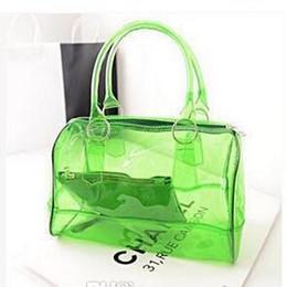 La moda bolsas de plástico transparentes en venta-Claro bolsa transparente del bolso del bolso de compras de cuero PVC bolsas de playa toda la venta de la manera del color del caramelo de las mujeres del totalizador del bolso del monedero de plástico de PVC 9 colores