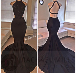 Sexy Cheap Long Black Mermaid Prom Dresses 2019 Halter Backless Sweep Train Appliqued Plus Size Formal Evening Girl Party Gowns BA2666