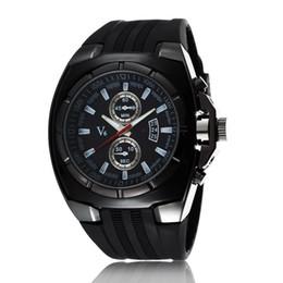 La montre-bracelet pour hommes en Ligne-V6 montre Mens Quartz Montres Silicone bracelet montre de sport de luxe noir Montres d'affaires Pour les hommes Top Quality Military Watch