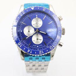 Wholesale Hot Sale Phantom Blue Face Quartz Mens watches Platinum Skeleton Three Tone With Annual Calendar Stopwatch Stainless Belt Watch men