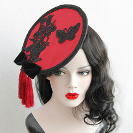 Style chinois exquise vin rouge rouge ronde dentelle arc Tassel cheveux clip chapeau Vintage Ladies Celebrity Party Masquerade Banquet Photographie Barrettes à partir de pinces à cheveux ronds fabricateur