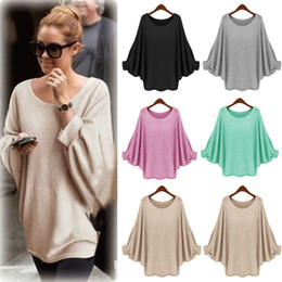 Compra On-line Senhoras casual jumpers-New Womens Ladies solto Batwing manga comprida malhas camisola moleton Casual Oversized malha Jumper Blosue Tops