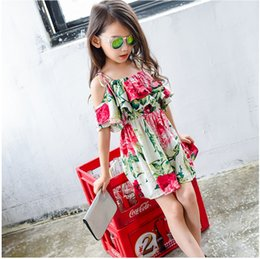 Wholesale kids clothing summer hot sale fashion printed braces off shoulder dress for girls tiered above knee flower dresses