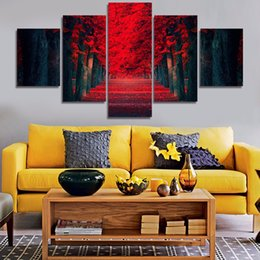Abstract red trees for room Decor Canvas picture beautiful Art HD Print Painting Canvas pictures Free shipping