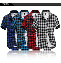 Wholesale summer classic plaid men s short sleeved shirts casual cotton men s shirts freeshipping by China Post Air Mail M XXXL