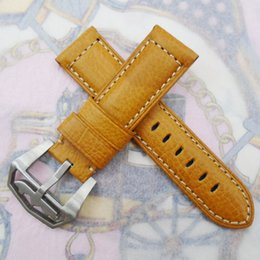 24mm 115 75mm luxury high quality Orange Calf Leather Strap & Screw-in Submarine Tang Buckle For Wristwatch