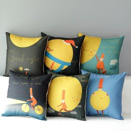 45cm Kids Room Yellow Cartoon Moon Cotton Linen Fabric Throw Pillow 18inch Handmade New Home Office Bedroom Decoration Sofa Back Cushion