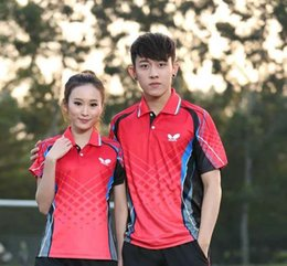 Wholesale New arrival butterfly sg44150 Table Tennis Super League table tennis team competition clothing couple models for men women t shirt