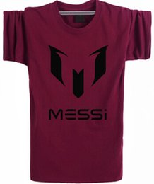 Wholesale summer brand cotton Barcelona MESSI Soccer Men t shirt tops Man casual sport short sleeve football t shirts Plus Size