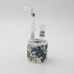 Wholesale Bong white random graffiti design pattern new design sketch sketch design art ouchkick glass water pipe smoking
