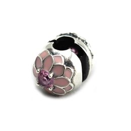 2016 Spring new Beads Fit for Pandora Bracelet 925 Sterling Silver Cherry Blossom Clip Pink Charms DIY Fine Jewelry